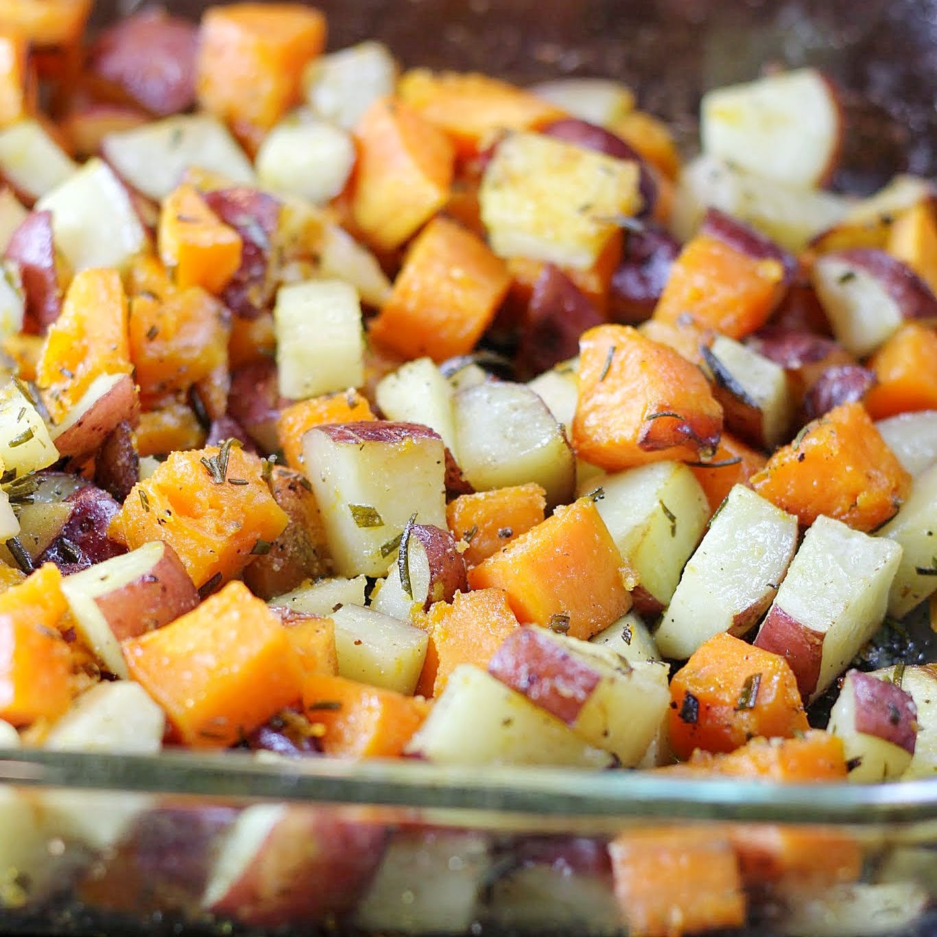 Simple Roasted Sweet Potatoes: Roasted Red And Sweet Potatoes With Rosemary. (GF